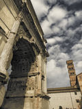 Titus Arch. Roman arch at the entrance of the Forum Stock Photos