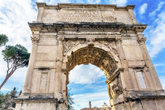 Titus Arch Jerusalem Victory Roman Forum Rome Italy. Titus Arch Roman Forum Rome Italy.  Stone arch was erected in 81 AD in honor of Emperor Vespasian and his Royalty Free Stock Photos