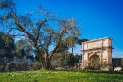 Titus Arch on Via Sacra Roman Road in Rome, Italy Royalty Free Stock Photography