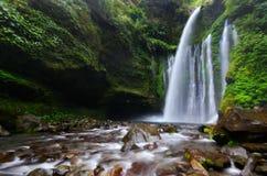 Tiu Kelep Waterfall near Rinjani, Senaru Lombok indonesia. Southeast Asia. Motion blur and soft focus due to Long Exposure Shot. Tiu Kelep Waterfall near royalty free stock image