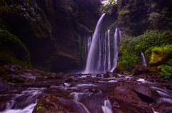 Tiu Kelep Waterfall near Rinjani, Senaru Lombok indonesia. Southeast Asia. Motion blur and soft focus due to Long Exposure Shot. Tiu Kelep Waterfall near royalty free stock photos