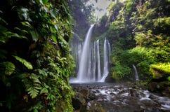 Tiu Kelep Waterfall near Rinjani, Senaru Lombok indonesia. Southeast Asia. Motion blur and soft focus due to Long Exposure Shot. Tiu Kelep Waterfall near royalty free stock photography