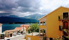 Tivat Bay, Beautiful view landscape from cottage , Montenegro, 26 july 2017 royalty free stock images