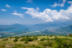 Tivat city and airport landing strip Royalty Free Stock Photo