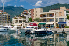 Tivat embankment and moored boats Royalty Free Stock Photo
