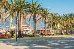 TIVAT, MONTENEGRO - 24. August 2017: Auf dem Kai von Tivat, Montenegro, mit schönen Palmen, promenieren Seeschiffe gegen t Lizenzfreie Stockfotografie