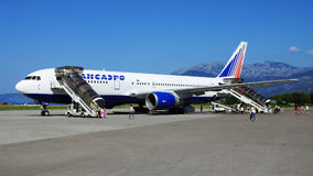 TIVAT, MONTENEGRO -AUGUST 28. Boeing-767 of the Russian airline Stock Image