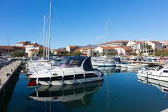 Many yachts in the bay of Tivat on a sunny day Royalty Free Stock Image