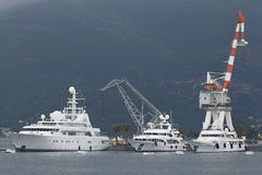 Tivat, Montenegro - JUNE 16: Golden Odyssey yacht in the port of Tivat  on JUNE 16, 2014 Stock Photos