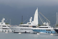 Tivat, Montenegro - JUNE 16: Golden Odyssey yacht in the port of Tivat  on JUNE 16, 2014 Stock Photography