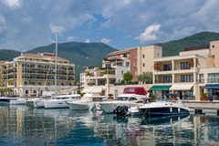 Tivat recreational boats and beautiful houses Royalty Free Stock Photography