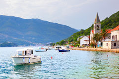 Tivat town in Montenegro. The Kotor Bay near Tivat town in Montenegro stock image