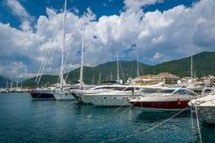 Tivat yacht marina and port buildings Royalty Free Stock Photos