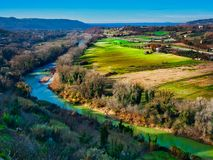 Tiver River bend panorama landscape Umbria Italy. Tiver River bend panorama or landscape Umbria Italy stock images