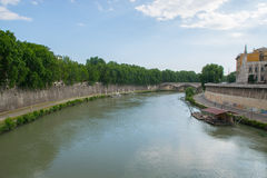 Tiver River, view from Ponte Giuseppe Mazzini in Rome Stock Images