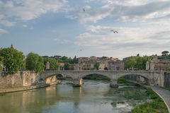 Tiver River, view from Ponte Principe Amadeo Savoia Acosta in Rome. Italy Royalty Free Stock Image
