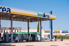 TIVISSA, TARRAGONA, SPAIN - MAY 31, 2017: Gas station in Tivissa, Tarragona, Catalunya, Spain. Copy space for text. stock photos