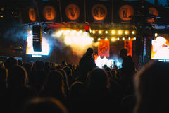 Tivoli公园音乐会在晚上 库存图片