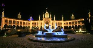 Tivoli庭院,天鹅宫殿在晚上 库存照片