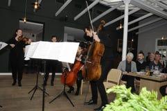 TIVOLI执行为媒介人的庭院音乐家 图库摄影