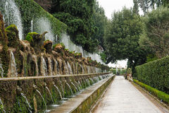 TIVOLI, ИТАЛИЯ - 28-ОЕ ЯНВАРЯ 2010: 100 фонтанов на d'E виллы Стоковая Фотография RF
