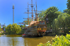 Tivoli Amusement Park. Pirate ship with restaurant in Tivoli Amusent Park in Copenhagen, Denmark Royalty Free Stock Image