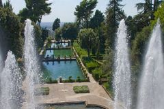 Tivoli. Fountain of Villa d Este Stock Images