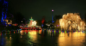 Tivoli Garden with frozen Lake at New Year Royalty Free Stock Photography