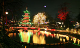 Tivoli Garden at night of New Year Stock Images