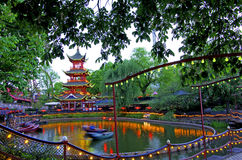 Tivoli gardens. Amusement park, chinese tower in Copenhagen stock photography