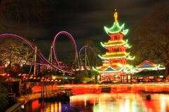 Tivoli Gardens, Copenhagen. Night view of Tivoli Gardens in Copenhagen, Denmark stock images