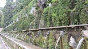 TIVOLI, ITALIE - AOÛT 2018 : Jets d'écoulement d'eau de la fontaine à l'este de ` de la villa D dans Tivoli, une partie de l'héri clips vidéos