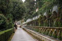 TIVOLI, ITALIE - 28 JANVIER 2010 : cent fontaines au d'E de villa Image stock
