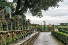 TIVOLI, ITALY - JANUARY 28, 2010: hundred fountains at Villa d'E Stock Photo