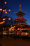 Tivoli By Night. Chinese pavilion in Tivoli Park Copenhagen, Denmark royalty free stock photo