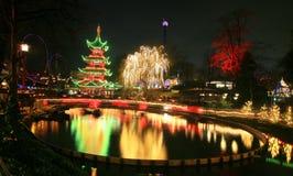 Tivoli-Tuin bij nacht Stock Afbeeldingen