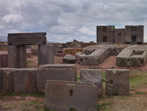 Tiwanaco archaeological site next to la paz Royalty Free Stock Image
