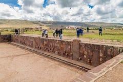 Ruins of Tiwanaku, Bolivia. TIWANAKU, BOLIVIA - APRIL 24, 2015: Tourists visit Tiwanaku Tiahuanaco , Pre-Columbian archaeological site Bolivia royalty free stock photography