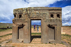 Tiwanaku Heritage in Bolivia. This photo is taken in Bolivia. Tiwanaku Spanish: Tiahuanaco or Tiahuanacu is a Pre-Columbian archaeological site in western Royalty Free Stock Image