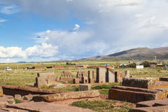 Tiwanaku Heritage in Bolivia. This photo is taken in Bolivia. Tiwanaku Spanish: Tiahuanaco or Tiahuanacu is a Pre-Columbian archaeological site in western stock image