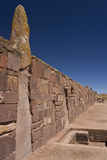 Tiwanaku Pre-Columbian site - Bolivia. The walls of Tiwanaku (Taihuanaco) Pre-Columbian site near La Paz in Bolivia. This UNESCO World Heritage Site dates from stock photo