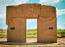 Tiwanaku. Ruins in Bolivia,. Gate of the sun , kalasasaya temple ,Tiwanaku. Ruins in Bolivia, Pre-Columbian archaeological site stock image