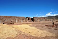 Tiwanaku. (Spanish: Tiahuanaco and Tiahuanacu) is an important Pre-Columbian archaeological site in western Bolivia, South America Royalty Free Stock Images