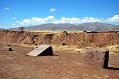 Tiwanaku. (Spanish: Tiahuanaco and Tiahuanacu) is an important Pre-Columbian archaeological site in western Bolivia, South America Royalty Free Stock Photos