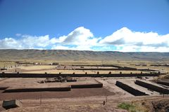Tiwanaku. (Spanish: Tiahuanaco and Tiahuanacu) is an important Pre-Columbian archaeological site in western Bolivia, South America Stock Images