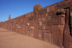 Tiwanaku walls Royalty Free Stock Photos