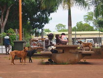 Tiwi Family Sitting Outside And Eating stock image