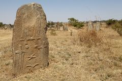 Tiya Ethiopian World Eritage Site. Carved stone at the Tiya Ethiopian World Eritage Site with carved stones in the background. Tiya is best known for its Stock Photography