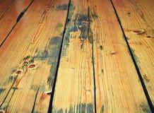 Tiza anticipada en el suelo de madera retro Fotografía de archivo