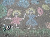 Tiza de la imagen en el asfalto Fotos de archivo libres de regalías